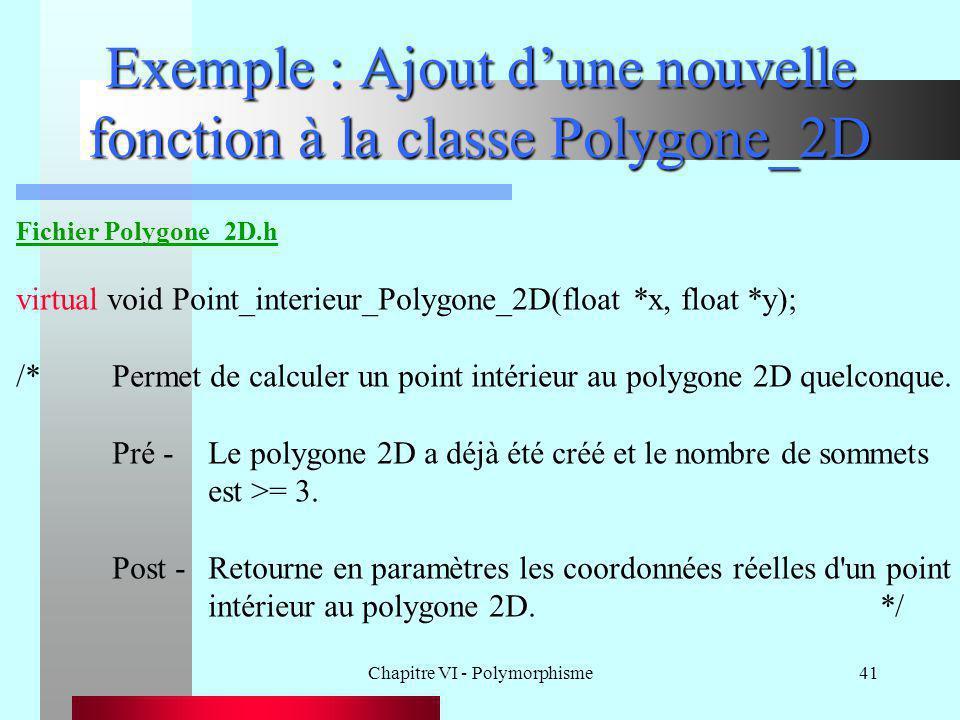 Chapitre VI - Polymorphisme41 Exemple : Ajout d'une nouvelle fonction à la classe Polygone_2D Fichier Polygone_2D.h virtual void Point_interieur_Polyg