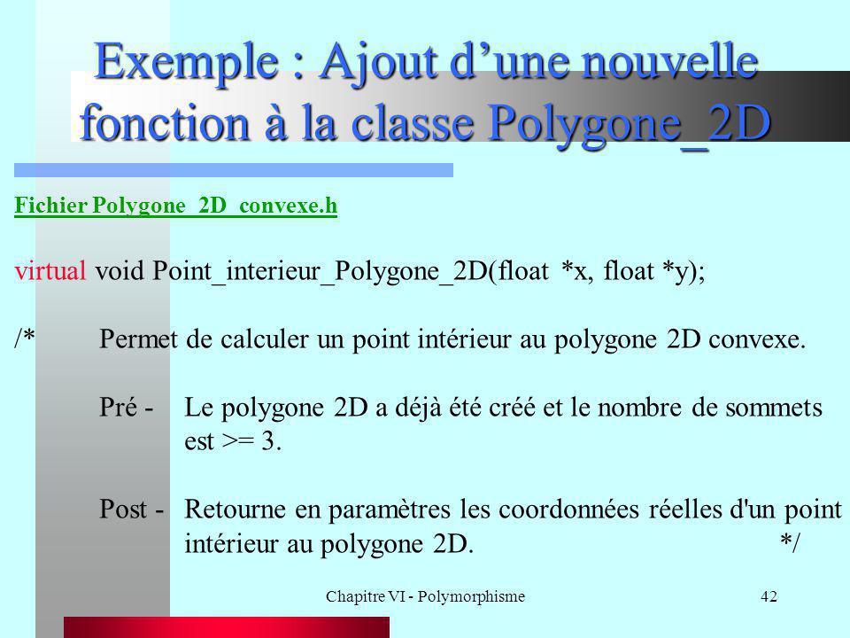 Chapitre VI - Polymorphisme42 Exemple : Ajout d'une nouvelle fonction à la classe Polygone_2D Fichier Polygone_2D_convexe.h virtual void Point_interie