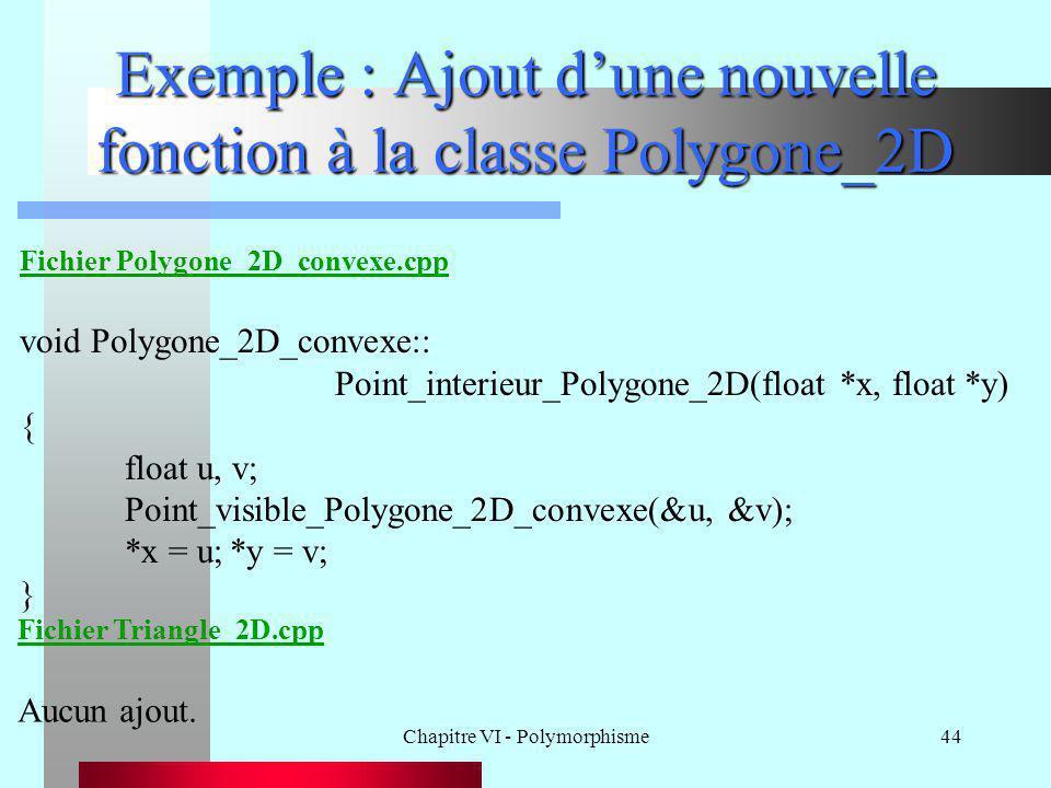 Chapitre VI - Polymorphisme44 Exemple : Ajout d'une nouvelle fonction à la classe Polygone_2D Fichier Polygone_2D_convexe.cpp void Polygone_2D_convexe