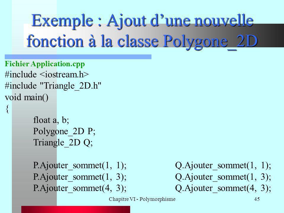 Chapitre VI - Polymorphisme45 Exemple : Ajout d'une nouvelle fonction à la classe Polygone_2D Fichier Application.cpp #include #include