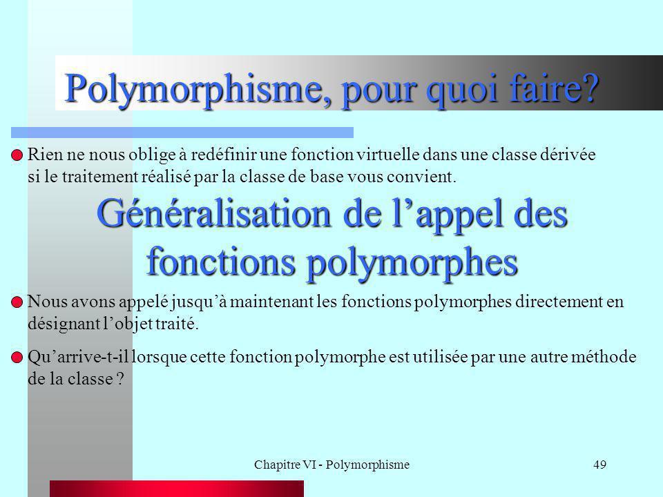 Chapitre VI - Polymorphisme49 Polymorphisme, pour quoi faire? Rien ne nous oblige à redéfinir une fonction virtuelle dans une classe dérivée si le tra