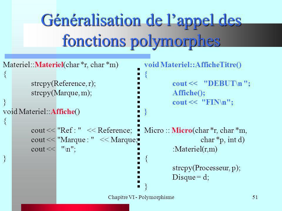 Chapitre VI - Polymorphisme51 Généralisation de l'appel des fonctions polymorphes Materiel::Materiel(char *r, char *m) { strcpy(Reference, r); strcpy(