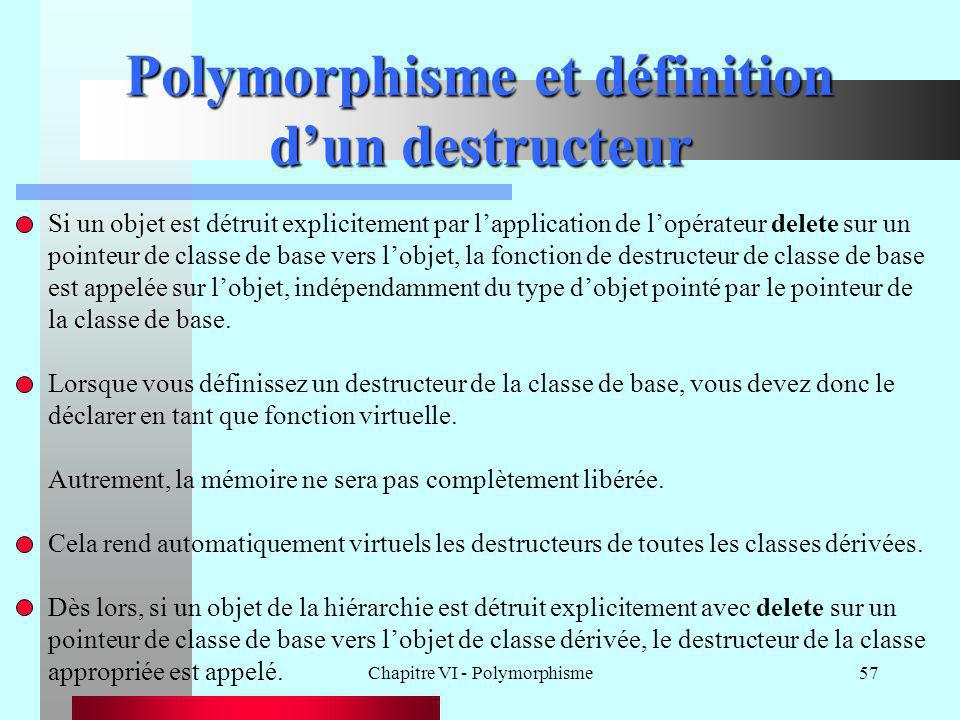 Chapitre VI - Polymorphisme57 Polymorphisme et définition d'un destructeur Si un objet est détruit explicitement par l'application de l'opérateur dele
