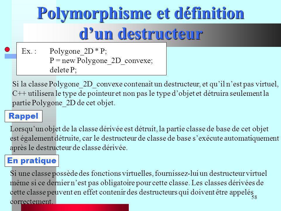 58 Polymorphisme et définition d'un destructeur Si la classe Polygone_2D_convexe contenait un destructeur, et qu'il n'est pas virtuel, C++ utilisera l