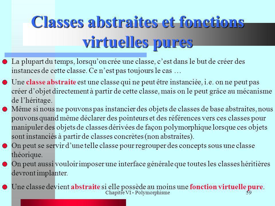 Chapitre VI - Polymorphisme59 Classes abstraites et fonctions virtuelles pures Une classe abstraite est une classe qui ne peut être instanciée, i.e. o