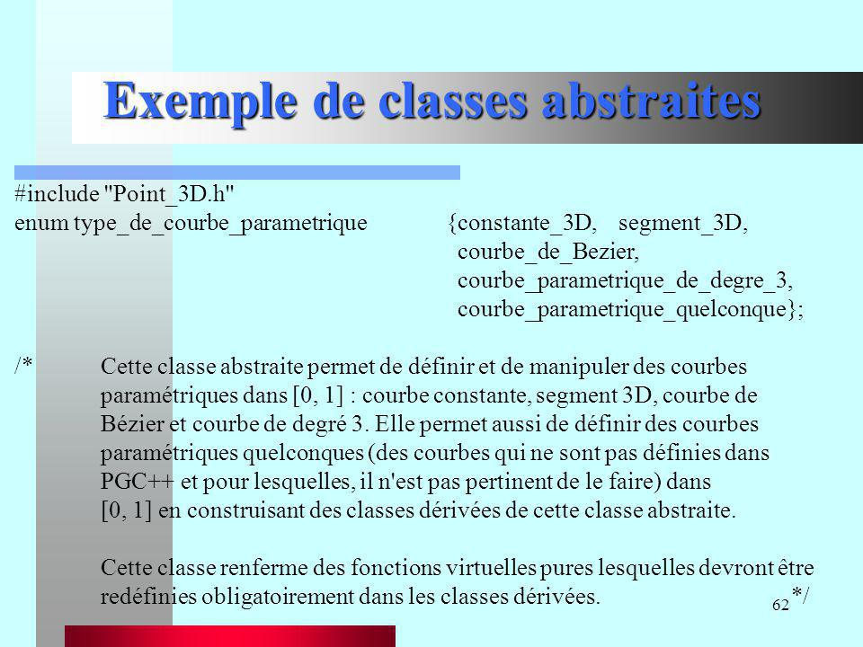 62 Exemple de classes abstraites #include
