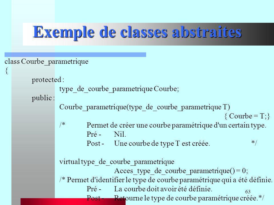 63 Exemple de classes abstraites class Courbe_parametrique { protected : type_de_courbe_parametrique Courbe; public : Courbe_parametrique(type_de_cour
