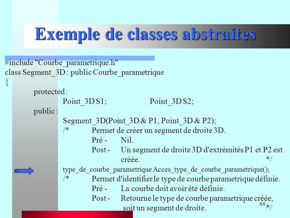 66 Exemple de classes abstraites #include