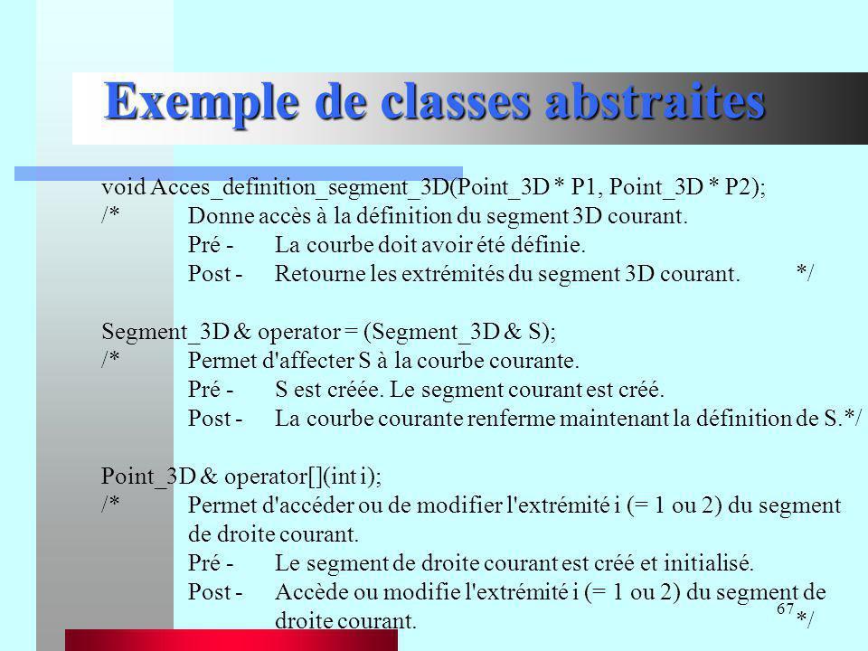 67 Exemple de classes abstraites void Acces_definition_segment_3D(Point_3D * P1, Point_3D * P2); /*Donne accès à la définition du segment 3D courant.