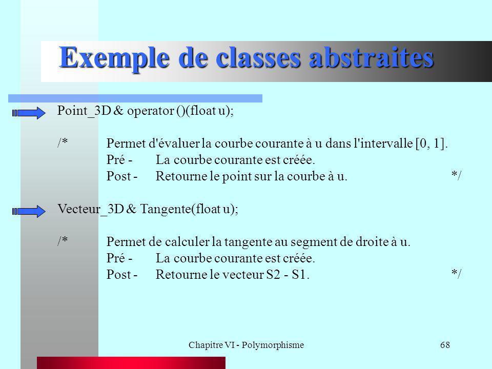 Chapitre VI - Polymorphisme68 Exemple de classes abstraites Point_3D & operator ()(float u); /*Permet d'évaluer la courbe courante à u dans l'interval