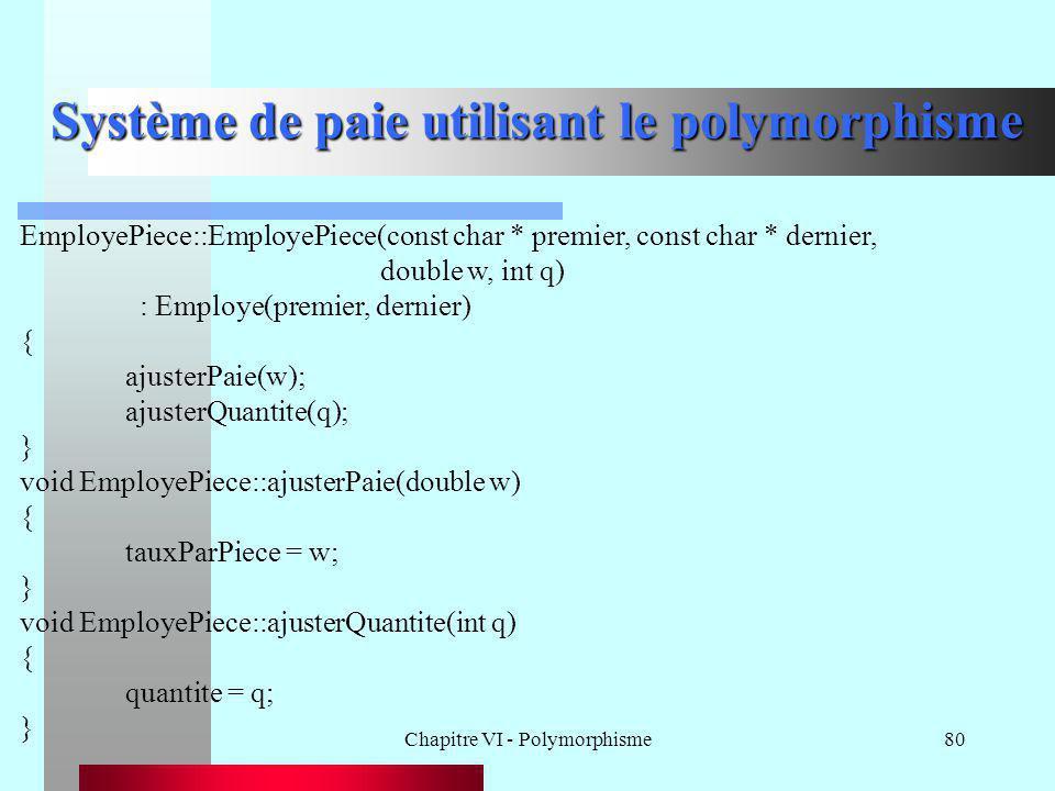 Chapitre VI - Polymorphisme80 Système de paie utilisant le polymorphisme EmployePiece::EmployePiece(const char * premier, const char * dernier, double