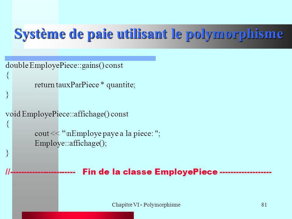 Chapitre VI - Polymorphisme81 Système de paie utilisant le polymorphisme double EmployePiece::gains() const { return tauxParPiece * quantite; } void E