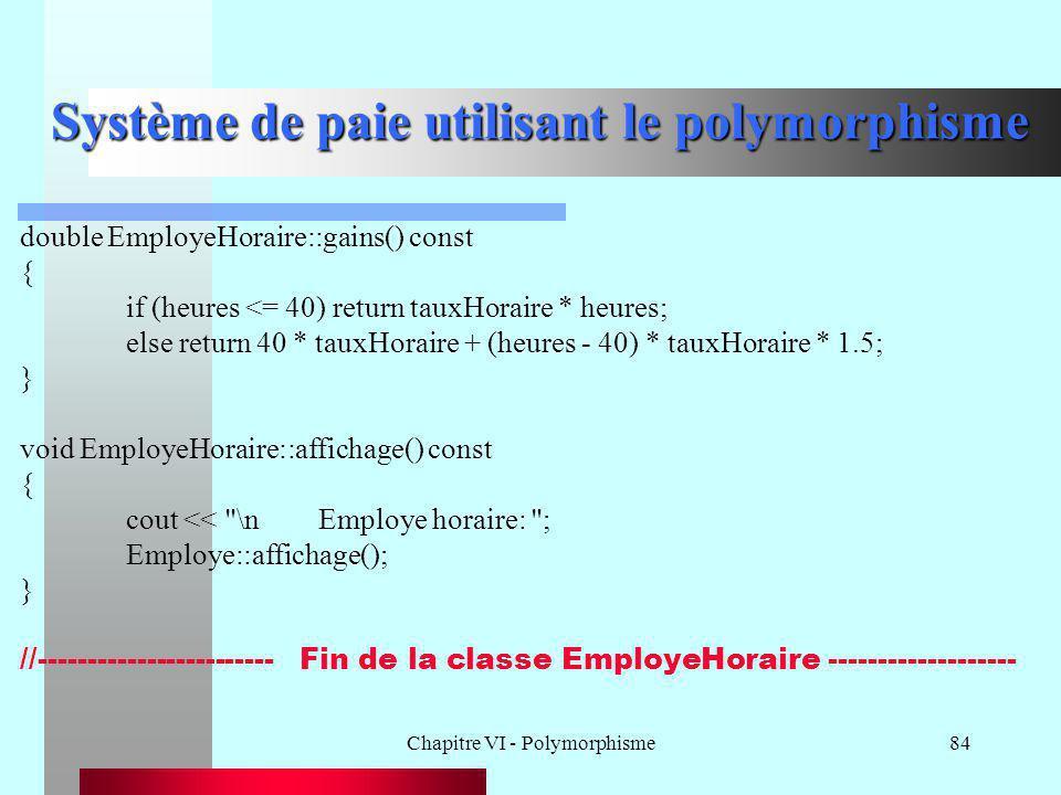 Chapitre VI - Polymorphisme84 Système de paie utilisant le polymorphisme double EmployeHoraire::gains() const { if (heures <= 40) return tauxHoraire *
