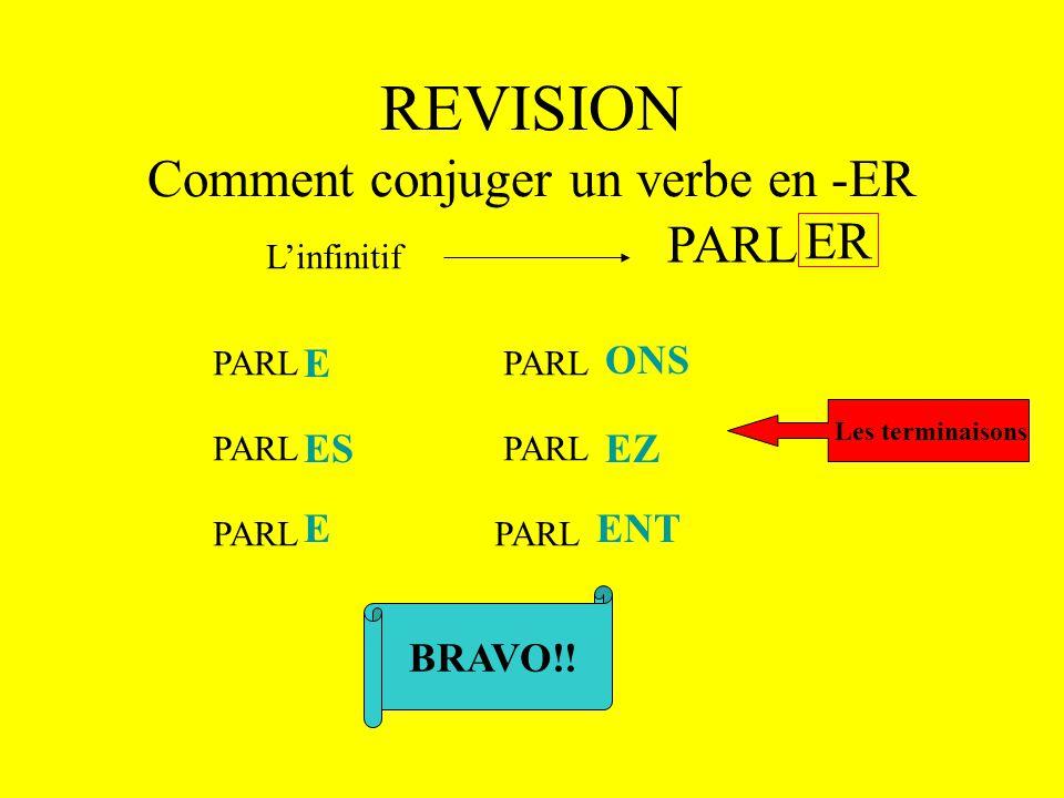 REVISION Comment conjuger un verbe en -ER L'infinitif ER PARL Le radical