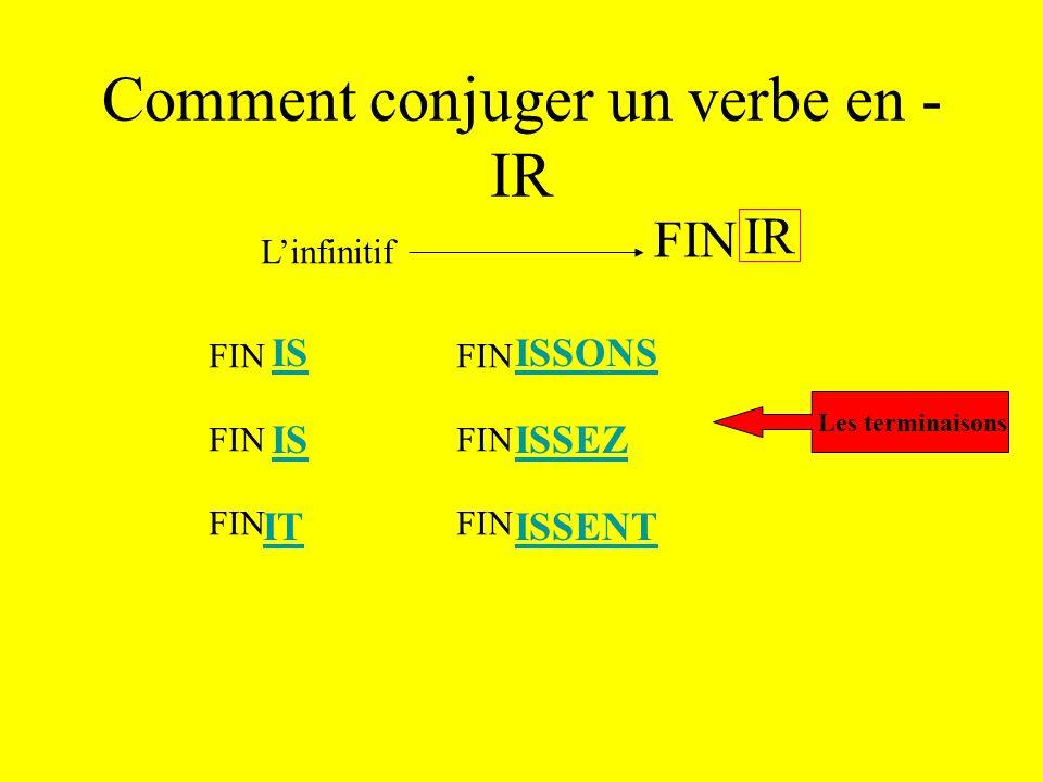 Comment conjuger un verbe en -IR L'infinitif IR FIN le radical