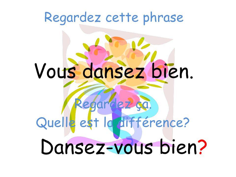 Regardez cette phrase Vous dansez bien. Dansez-vous bien? Regardez ça. Quelle est la différence?