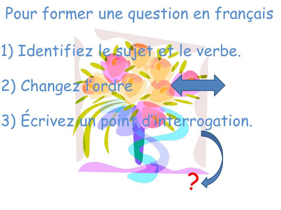 Pour former une question en français 1) Identifiez le sujet et le verbe. 2) Changez l'ordre 3) Écrivez un point d'interrogation. ?