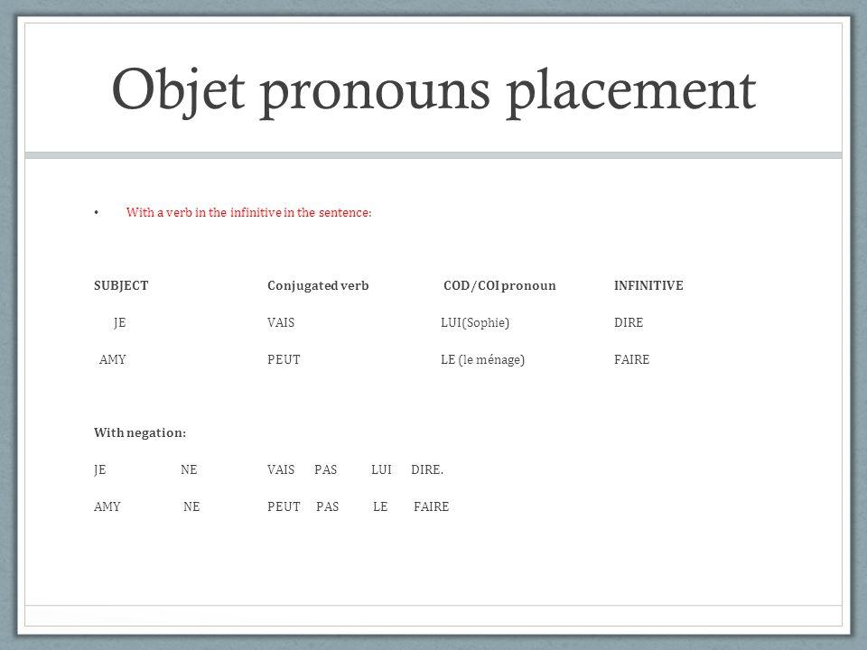 Objet pronouns placement With a verb in the infinitive in the sentence: SUBJECT Conjugated verb COD/COI pronoun INFINITIVE JEVAISLUI(Sophie)DIRE AMYPEUTLE (le ménage)FAIRE With negation: JE NEVAIS PAS LUI DIRE.