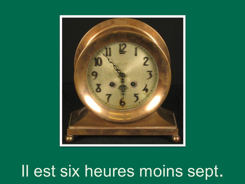 Il est six heures moins sept.