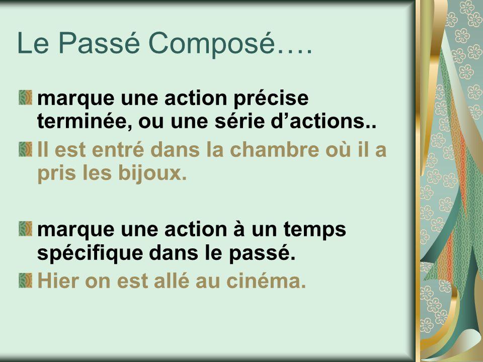Le Passé Composé….marque une action précise terminée, ou une série d'actions..