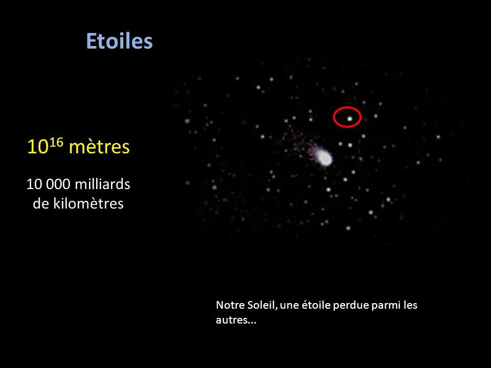 10 16 mètres 10 000 milliards de kilomètres Etoiles Notre Soleil, une étoile perdue parmi les autres...