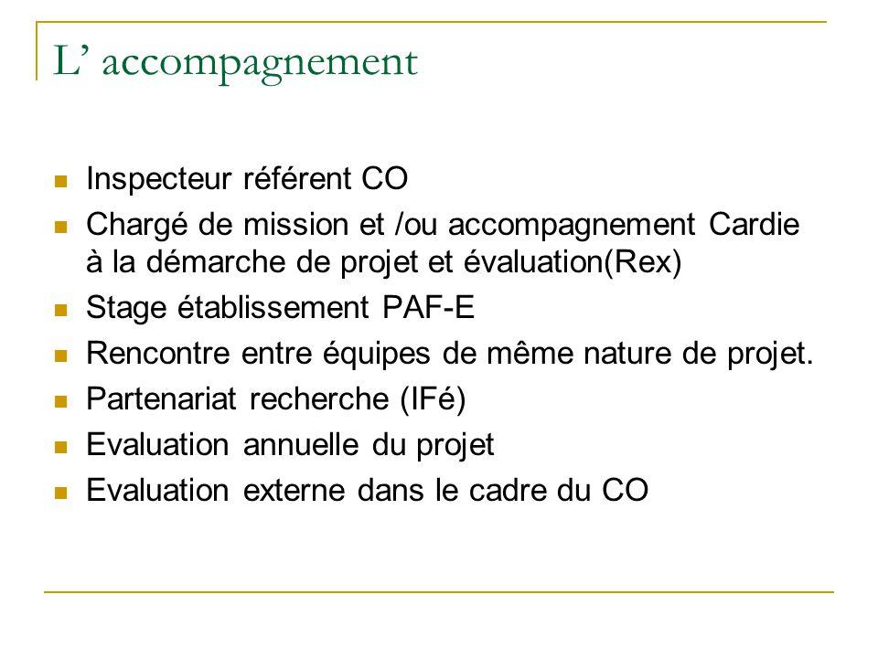 L' accompagnement Inspecteur référent CO Chargé de mission et /ou accompagnement Cardie à la démarche de projet et évaluation(Rex) Stage établissement