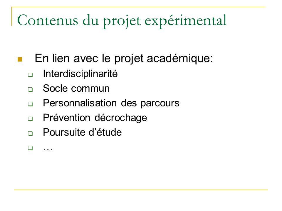 Contenus du projet expérimental En lien avec le projet académique:  Interdisciplinarité  Socle commun  Personnalisation des parcours  Prévention d