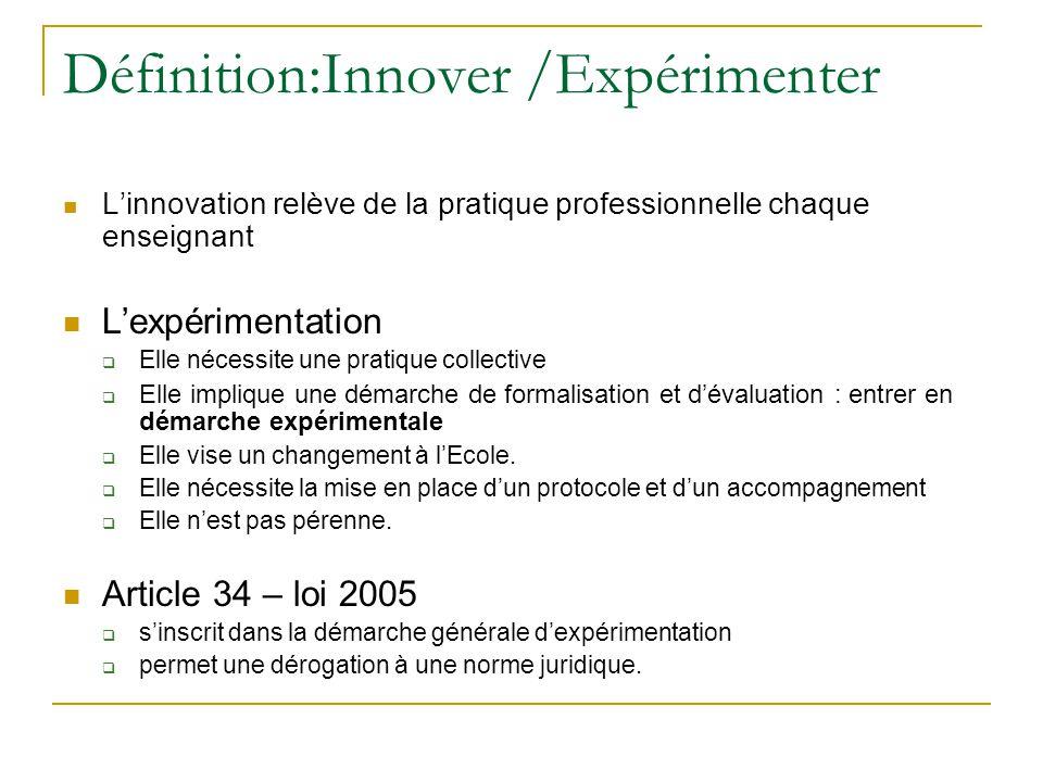 Définition:Innover /Expérimenter L'innovation relève de la pratique professionnelle chaque enseignant L'expérimentation  Elle nécessite une pratique