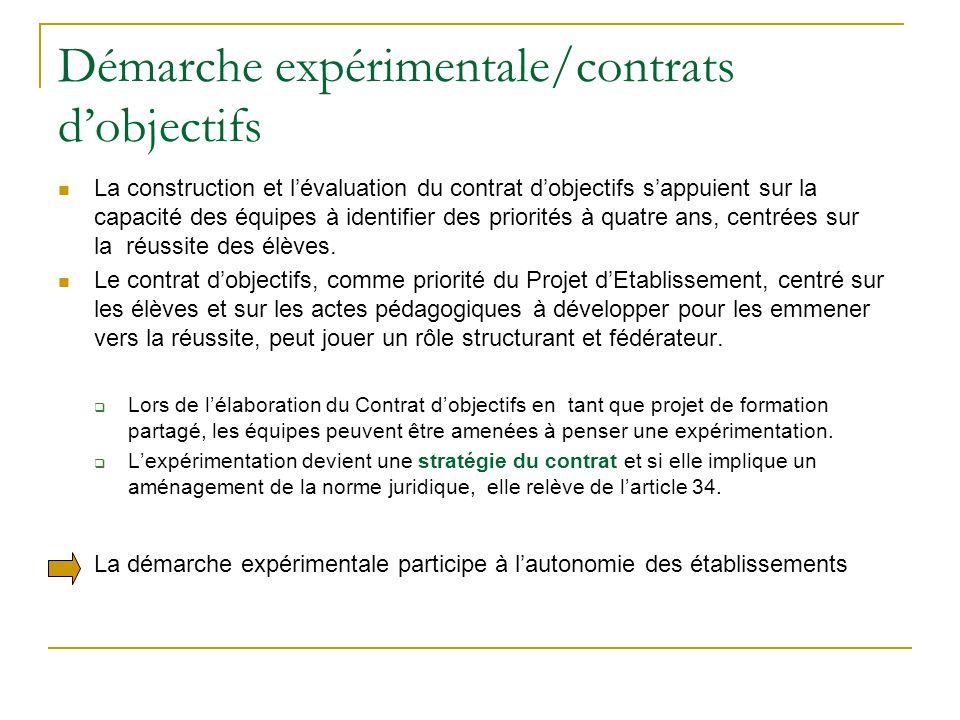 Démarche expérimentale/contrats d'objectifs La construction et l'évaluation du contrat d'objectifs s'appuient sur la capacité des équipes à identifier