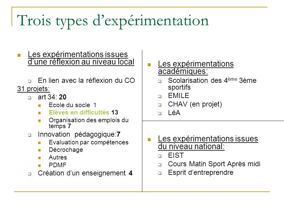 Trois types d'expérimentation Les expérimentations issues d'une réflexion au niveau local  En lien avec la réflexion du CO 31 projets:  art 34: 20 E