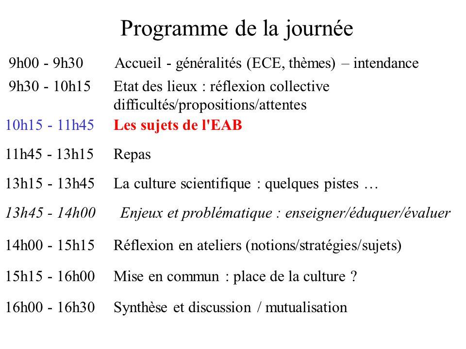 Programme de la journée 9h00 - 9h30Accueil - généralités (ECE, thèmes) – intendance 9h30 - 10h15Etat des lieux : réflexion collective difficultés/propositions/attentes 10h15 - 11h45Les sujets de l EAB 11h45 - 13h15Repas 13h15 - 13h45La culture scientifique : quelques pistes … 13h45 - 14h00Enjeux et problématique : enseigner/éduquer/évaluer 14h00 - 15h15Réflexion en ateliers (notions/stratégies/sujets) 15h15 - 16h00Mise en commun : place de la culture .