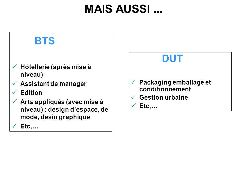 MAIS AUSSI... BTS Hôtellerie (après mise à niveau) Assistant de manager Edition Arts appliqués (avec mise à niveau) : design d'espace, de mode, desin