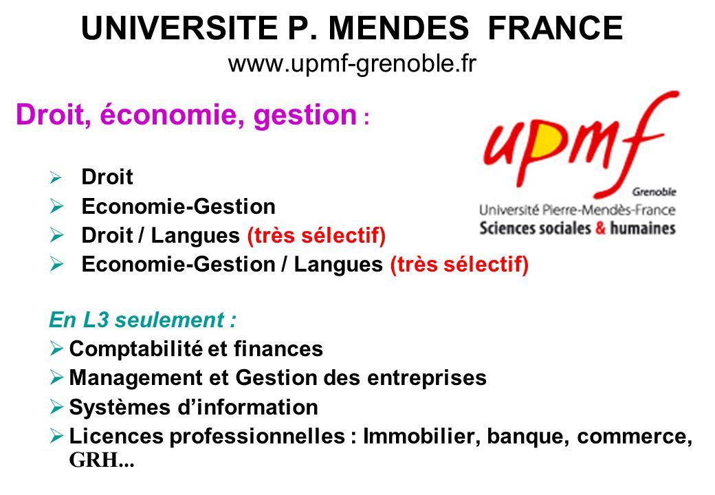 UNIVERSITE P. MENDES FRANCE www.upmf-grenoble.fr Droit, économie, gestion :  Droit  Economie-Gestion  Droit / Langues (très sélectif)  Economie-Ge