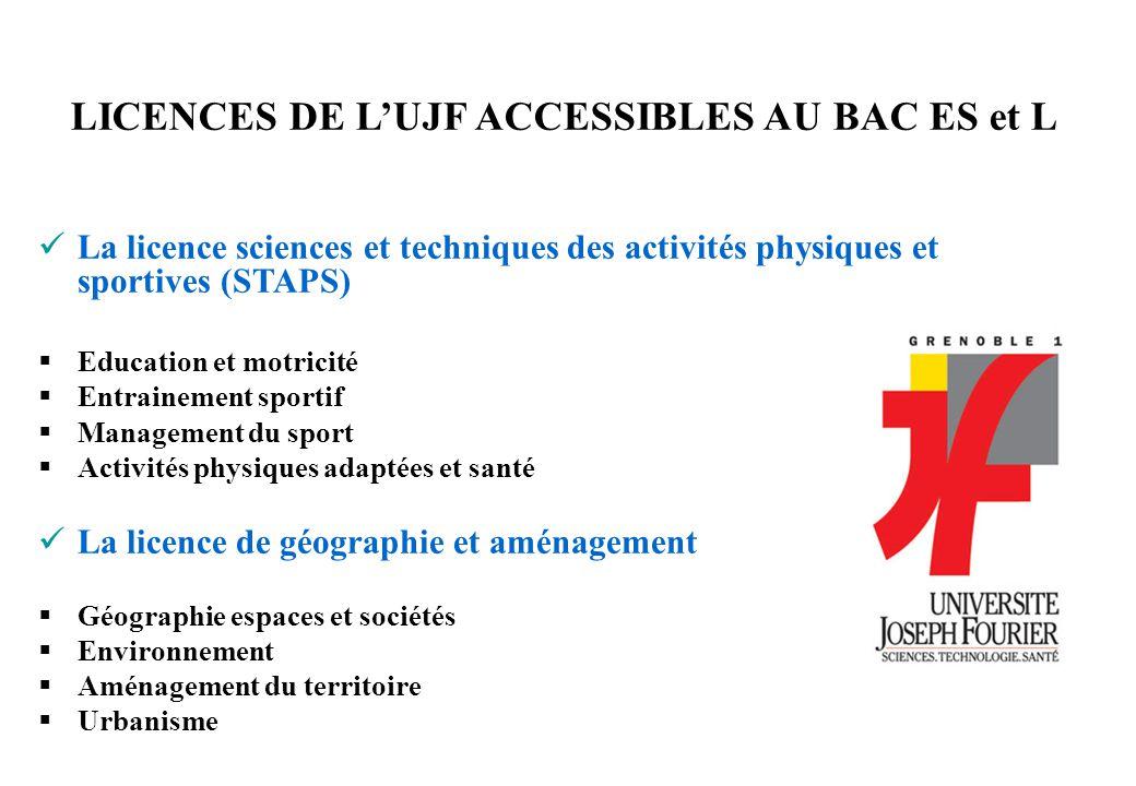 LICENCES DE L'UJF ACCESSIBLES AU BAC ES et L La licence sciences et techniques des activités physiques et sportives (STAPS)  Education et motricité 