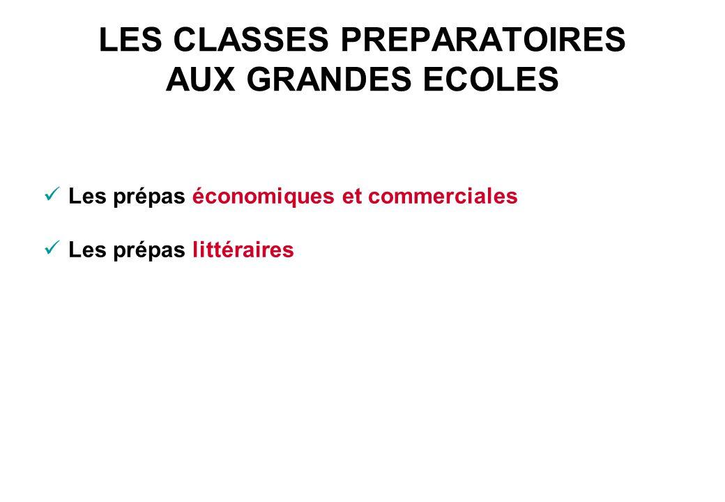 LES CLASSES PREPARATOIRES AUX GRANDES ECOLES Les prépas économiques et commerciales Les prépas littéraires