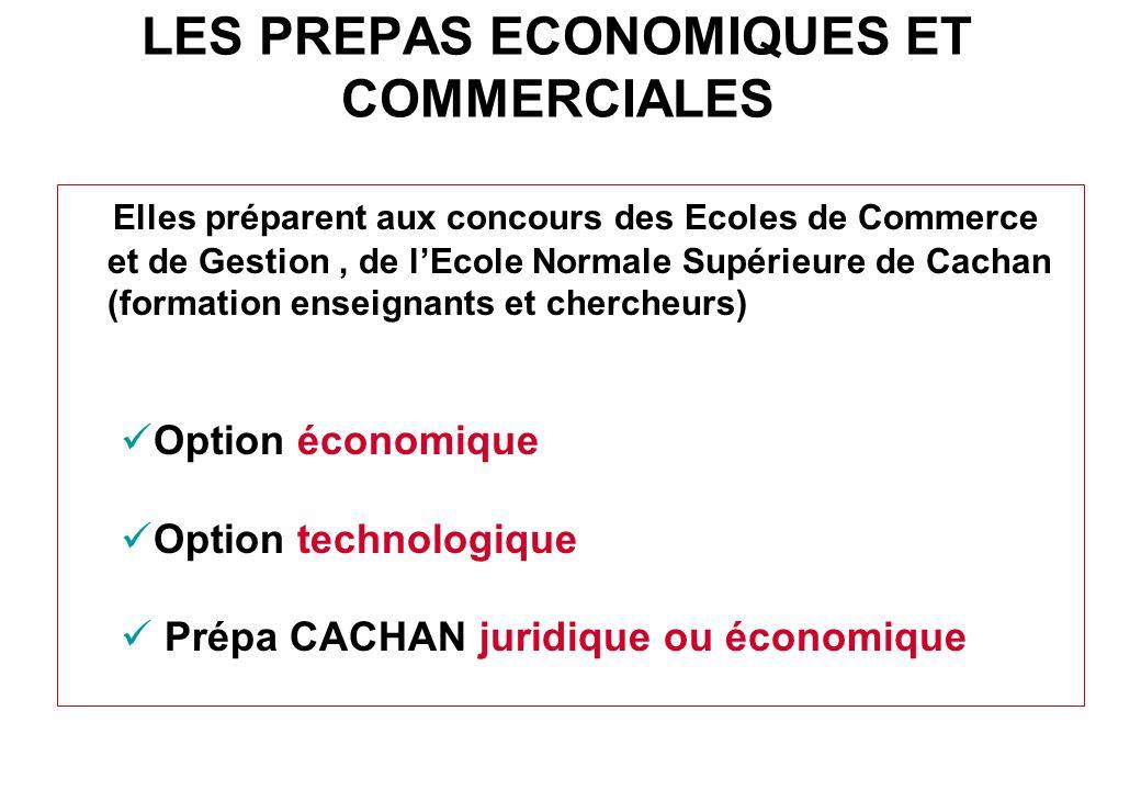 LES PREPAS ECONOMIQUES ET COMMERCIALES Elles préparent aux concours des Ecoles de Commerce et de Gestion, de l'Ecole Normale Supérieure de Cachan (for