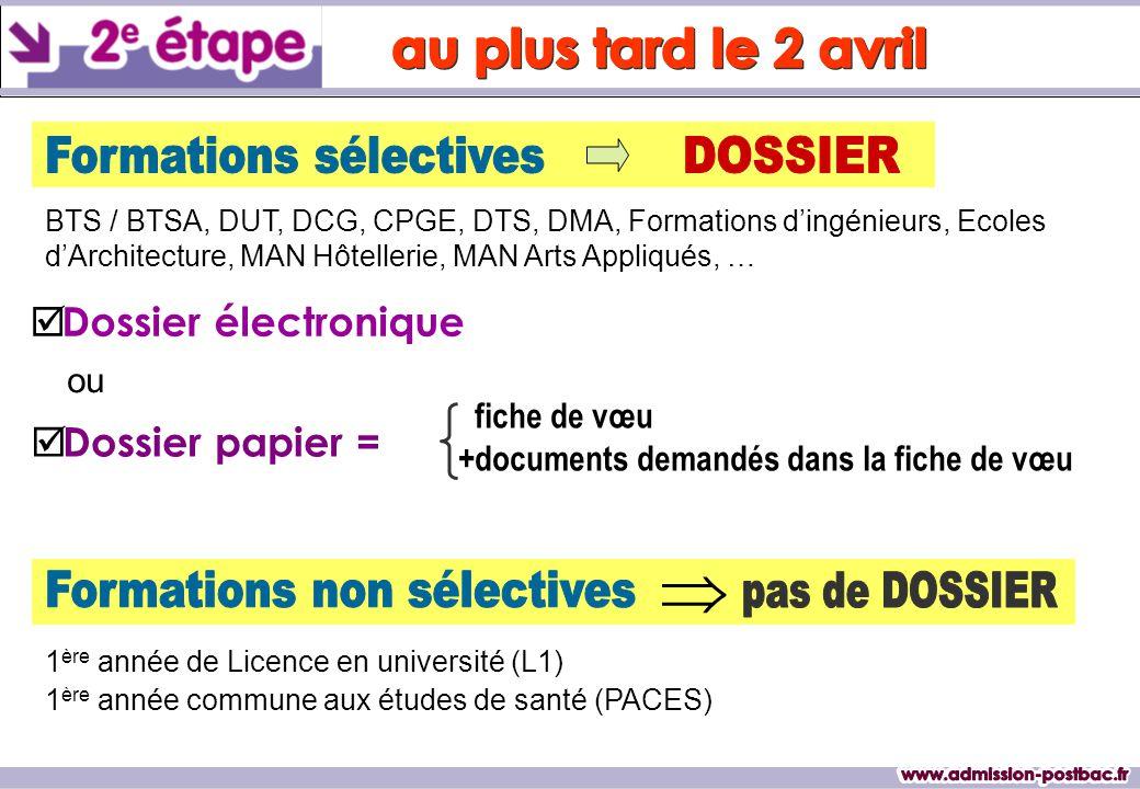   Dossier électronique  Dossier papier = fiche de vœu +documents demandés dans la fiche de vœu BTS / BTSA, DUT, DCG, CPGE, DTS, DMA, Formations d'i