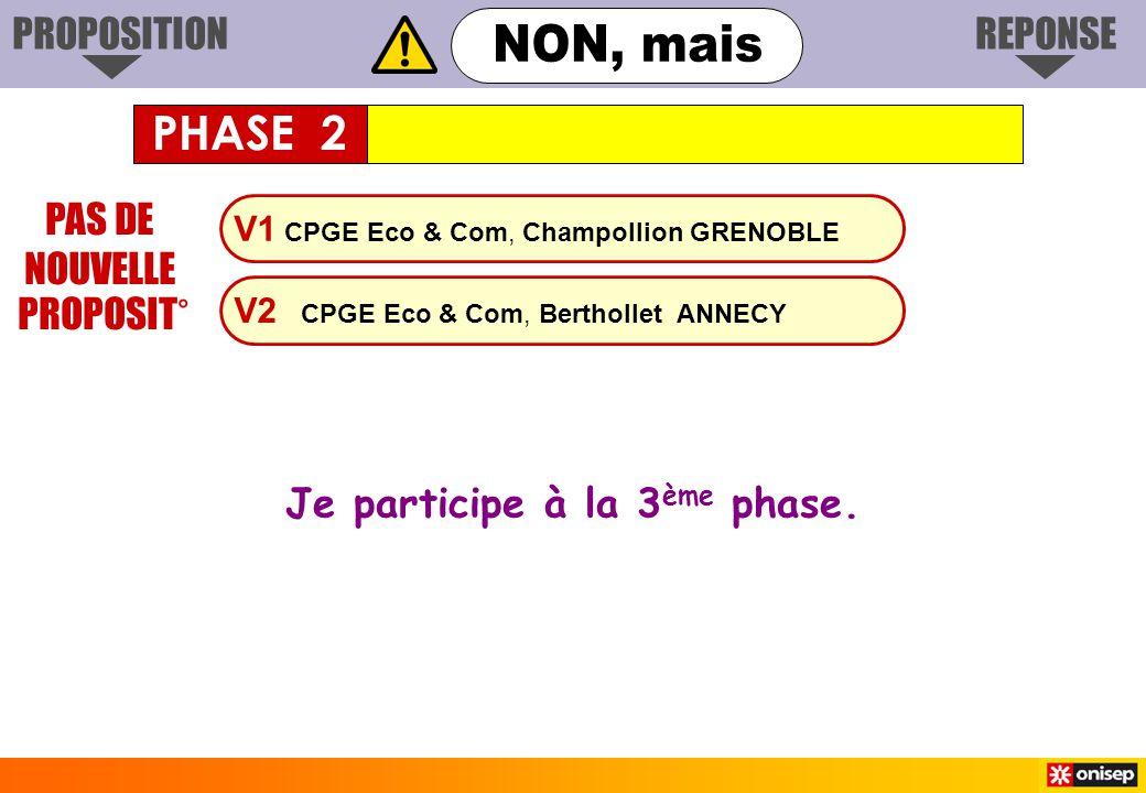 V1 CPGE Eco & Com, Champollion GRENOBLE V2 CPGE Eco & Com, Berthollet ANNECY PAS DE NOUVELLE PROPOSIT° Je participe à la 3 ème phase. PHASE 2 PROPOSIT