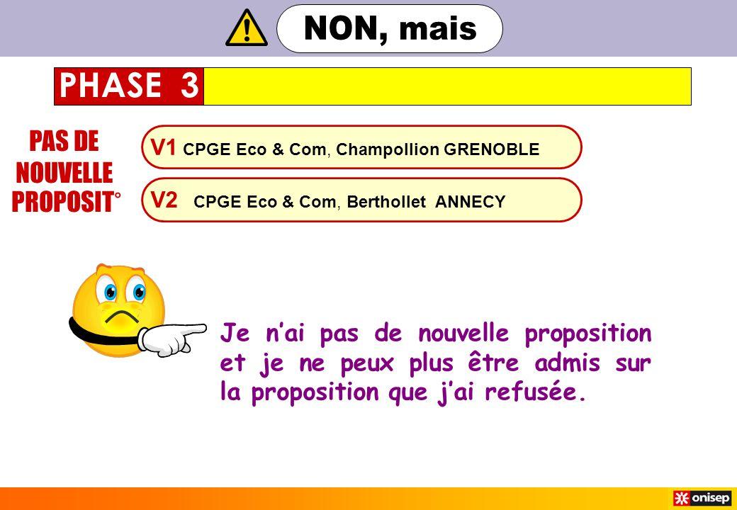 V1 CPGE Eco & Com, Champollion GRENOBLE V2 CPGE Eco & Com, Berthollet ANNECY PAS DE NOUVELLE PROPOSIT° PHASE 3 Je n'ai pas de nouvelle proposition et