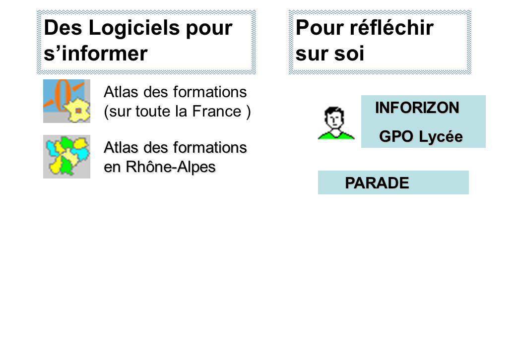 Des Logiciels pour s'informer Atlas des formations (sur toute la France ) Atlas des formations en Rhône-Alpes INFORIZON INFORIZON GPO Lycée GPO Lycée PARADE PARADE Pour réfléchir sur soi