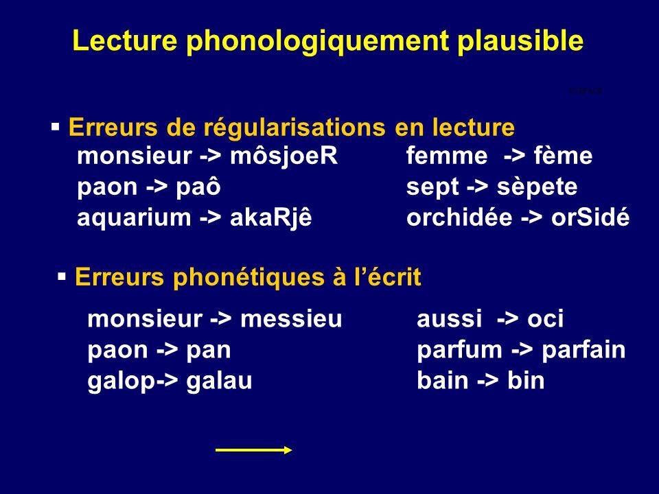  Erreurs de régularisations en lecture monsieur -> môsjoeRfemme -> fème paon -> paôsept -> sèpete aquarium -> akaRjêorchidée -> orSidé  Erreurs phonétiques à l'écrit monsieur -> messieuaussi -> oci paon -> panparfum -> parfain galop-> galaubain -> bin SURFACE Lecture phonologiquement plausible