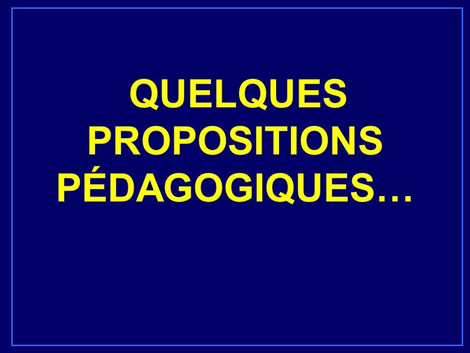 QUELQUES PROPOSITIONS PÉDAGOGIQUES…