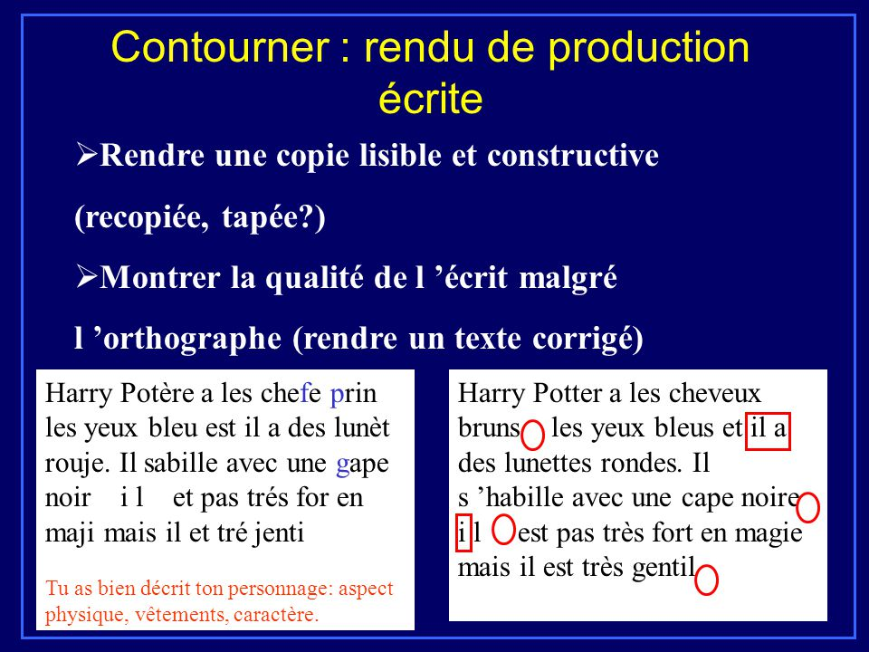 Contourner : rendu de production écrite  Rendre une copie lisible et constructive (recopiée, tapée?)  Montrer la qualité de l 'écrit malgré l 'ortho