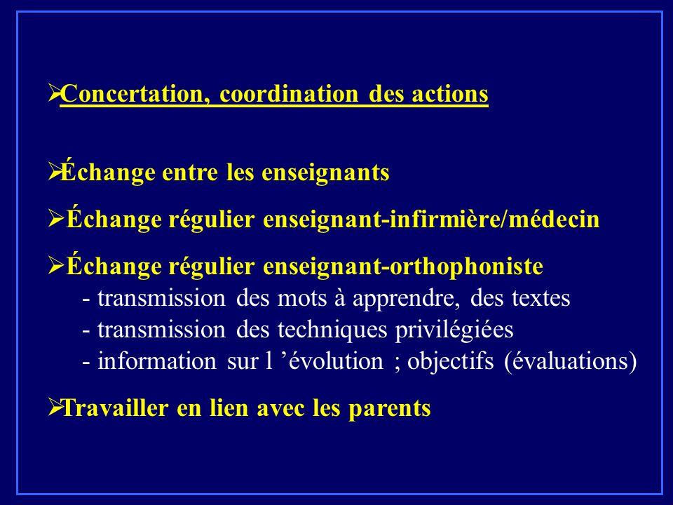  Concertation, coordination des actions  Échange entre les enseignants  Échange régulier enseignant-infirmière/médecin  Échange régulier enseignan
