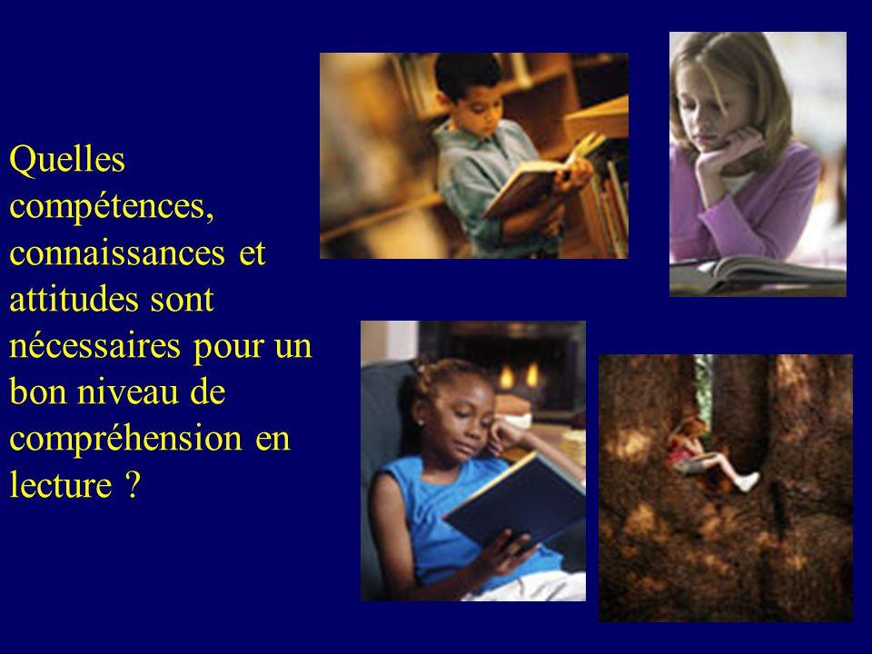 Quelles compétences, connaissances et attitudes sont nécessaires pour un bon niveau de compréhension en lecture