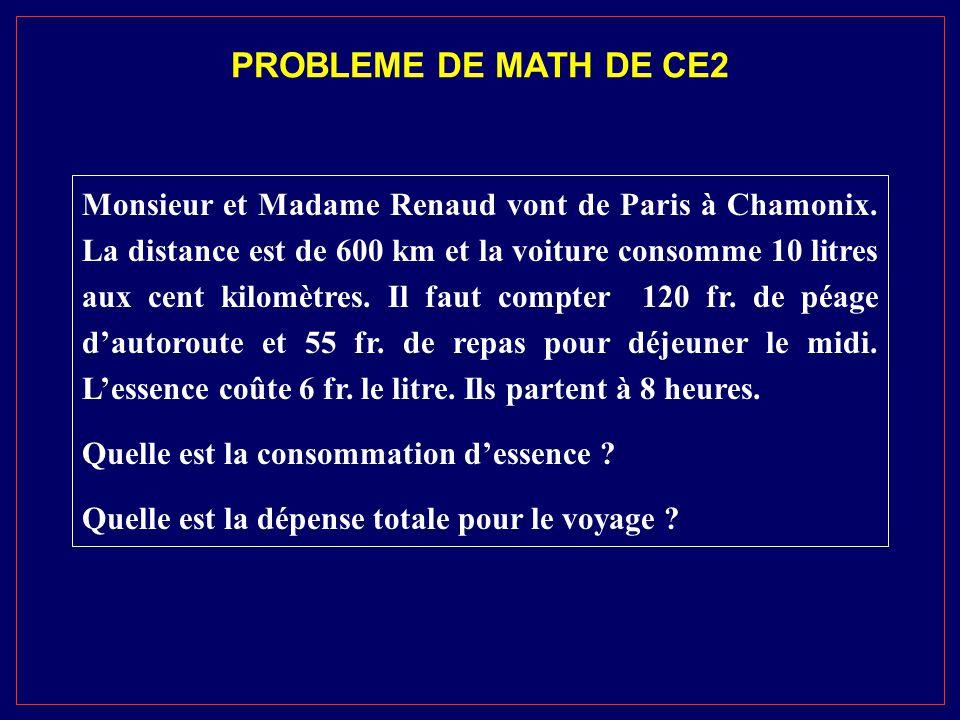 PROBLEME DE MATH DE CE2 Monsieur et Madame Renaud vont de Paris à Chamonix. La distance est de 600 km et la voiture consomme 10 litres aux cent kilomè
