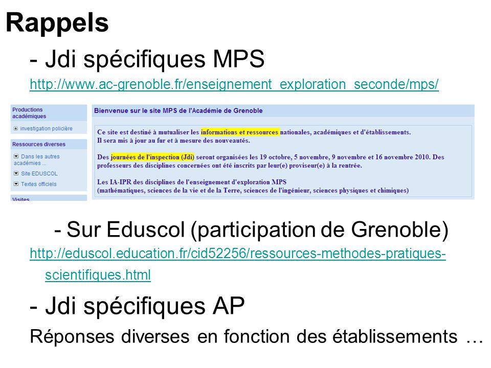 Rappels -Jdi spécifiques MPS http://www.ac-grenoble.fr/enseignement_exploration_seconde/mps/ -Sur Eduscol (participation de Grenoble) http://eduscol.education.fr/cid52256/ressources-methodes-pratiques- scientifiques.html -Jdi spécifiques AP Réponses diverses en fonction des établissements …