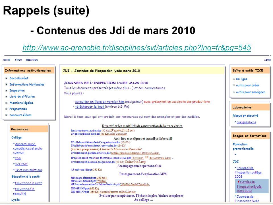 http://www.ac-grenoble.fr/disciplines/svt/articles.php?lng=fr&pg=545 Rappels (suite) - Contenus des Jdi de mars 2010