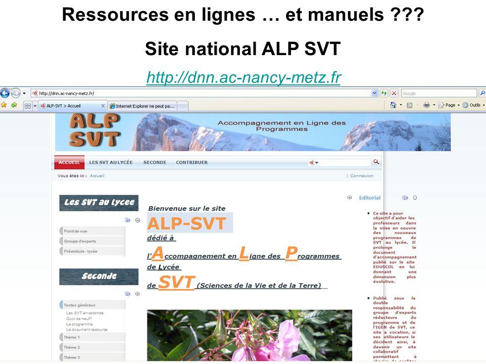 http://dnn.ac-nancy-metz.fr Ressources en lignes … et manuels ??? Site national ALP SVT