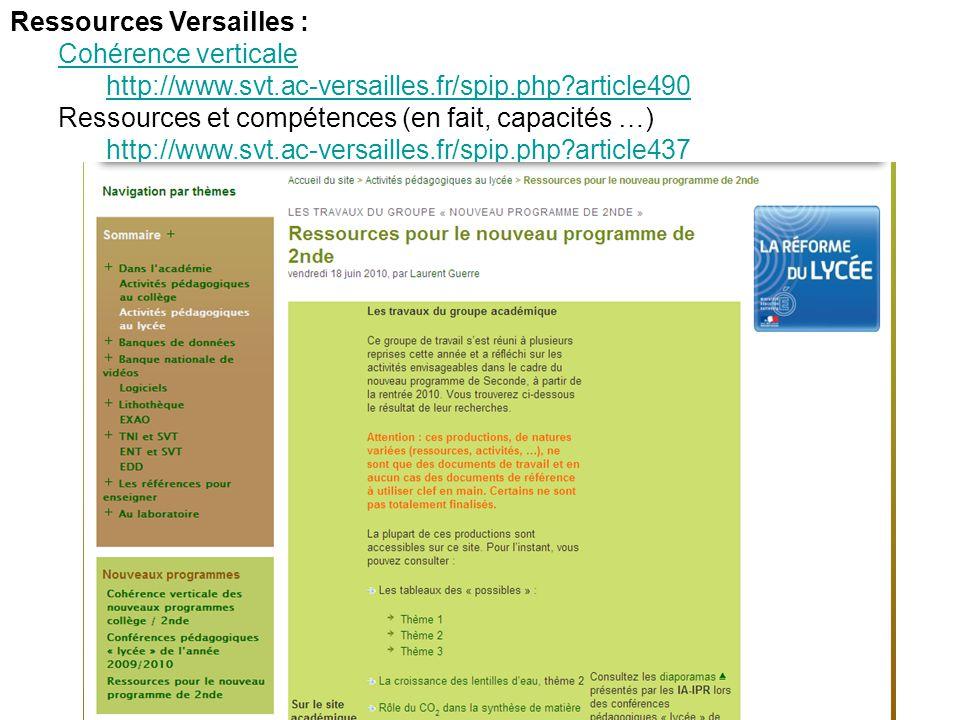 Ressources Versailles : Cohérence verticale http://www.svt.ac-versailles.fr/spip.php?article490 Ressources et compétences (en fait, capacités …) http://www.svt.ac-versailles.fr/spip.php?article437